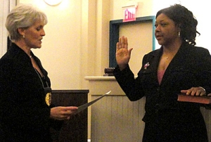 Mayor Comitta swearing in Borough Council VP Cassandra Jones